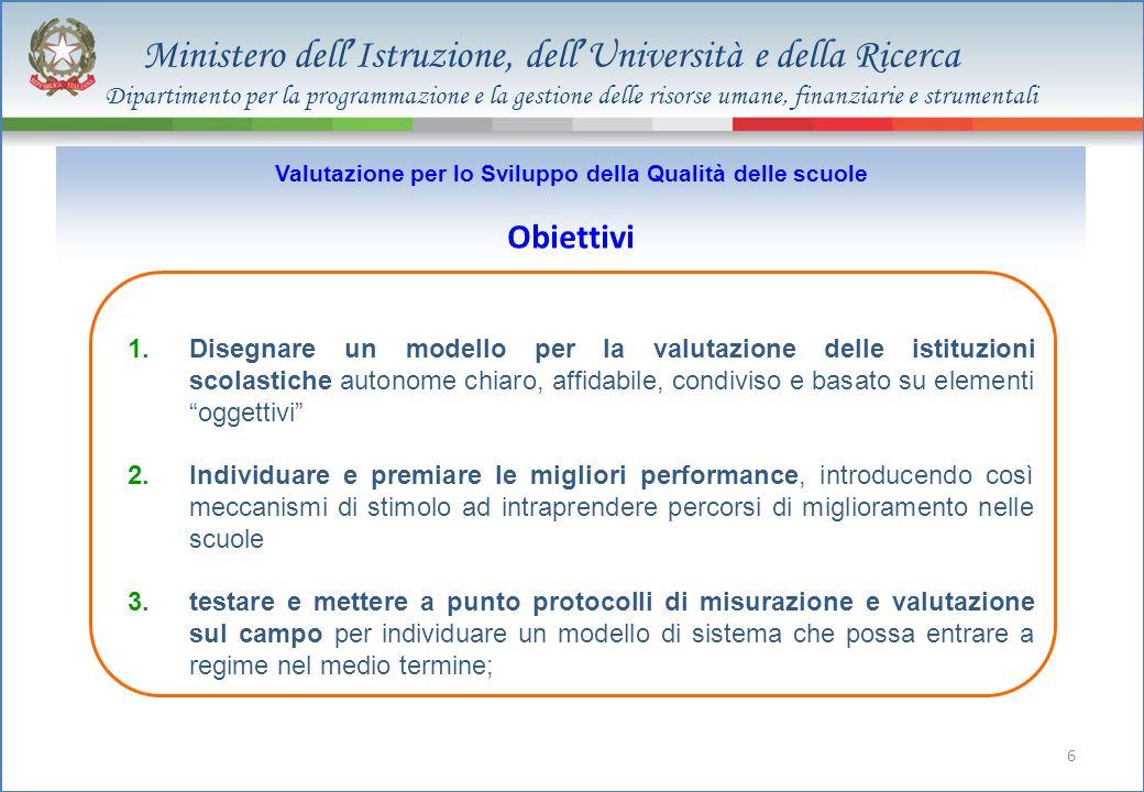 Ministero dell Istruzione, dell Università e della Ricerca 6 1.Disegnare un modello per la valutazione delle istituzioni scolastiche autonome chiaro,