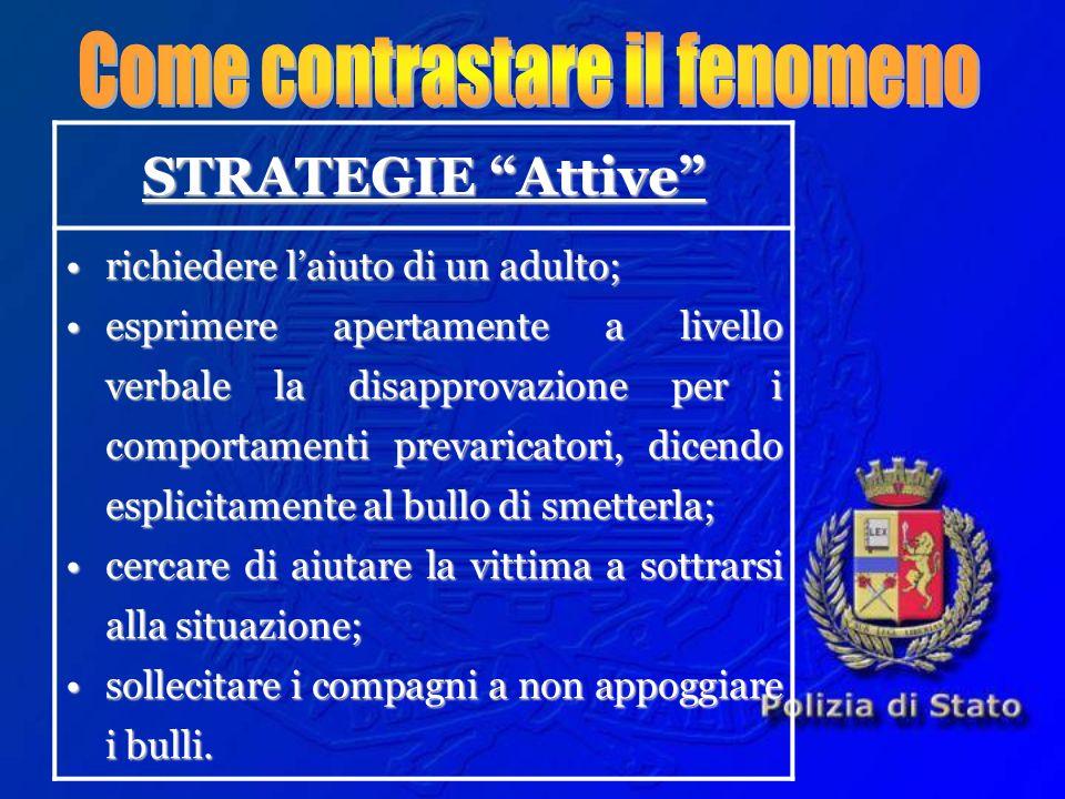 STRATEGIE Attive richiedere laiuto di un adulto;richiedere laiuto di un adulto; esprimere apertamente a livello verbale la disapprovazione per i compo