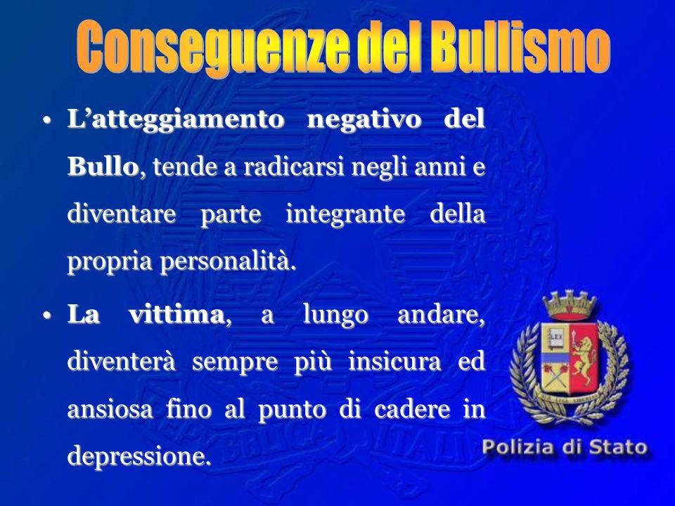Latteggiamento negativo del Bullo, tende a radicarsi negli anni e diventare parte integrante della propria personalità.Latteggiamento negativo del Bul