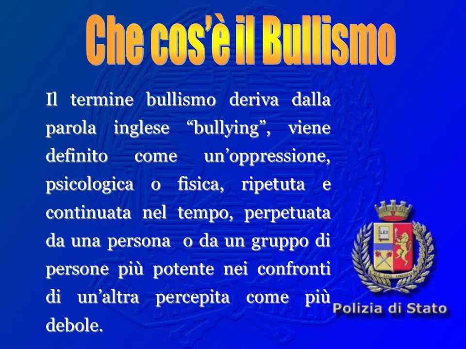 Il termine bullismo deriva dalla parola inglese bullying, viene definito come unoppressione, psicologica o fisica, ripetuta e continuata nel tempo, pe