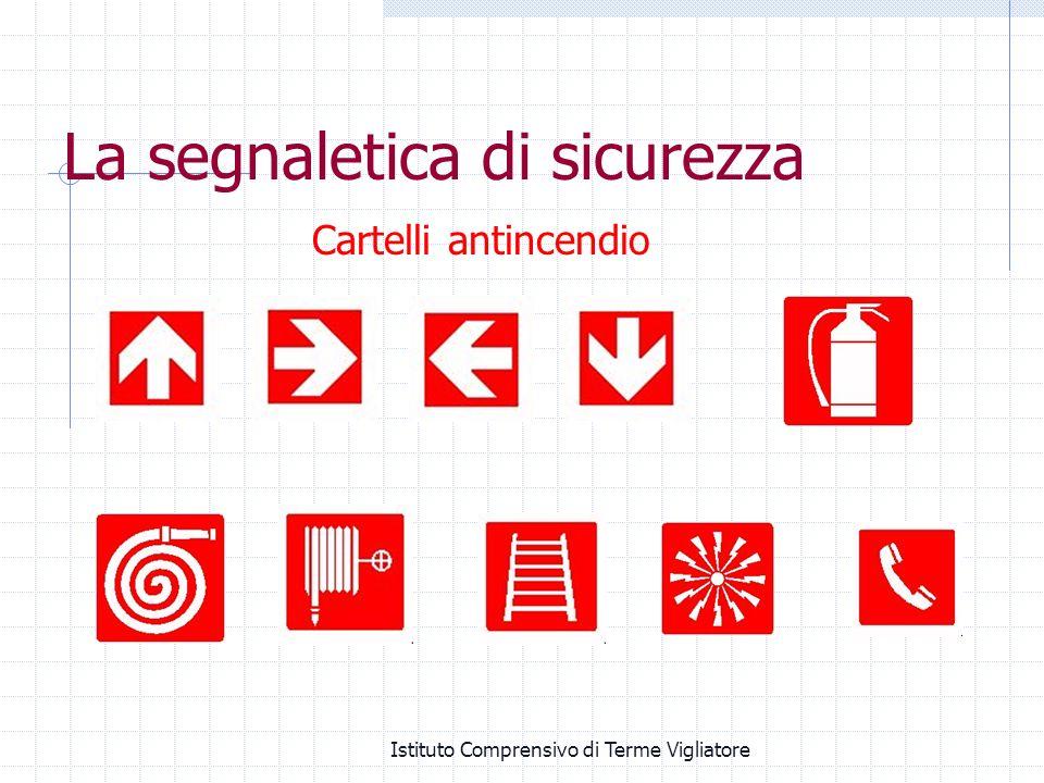 Istituto Comprensivo di Terme Vigliatore Cartelli antincendio La segnaletica di sicurezza