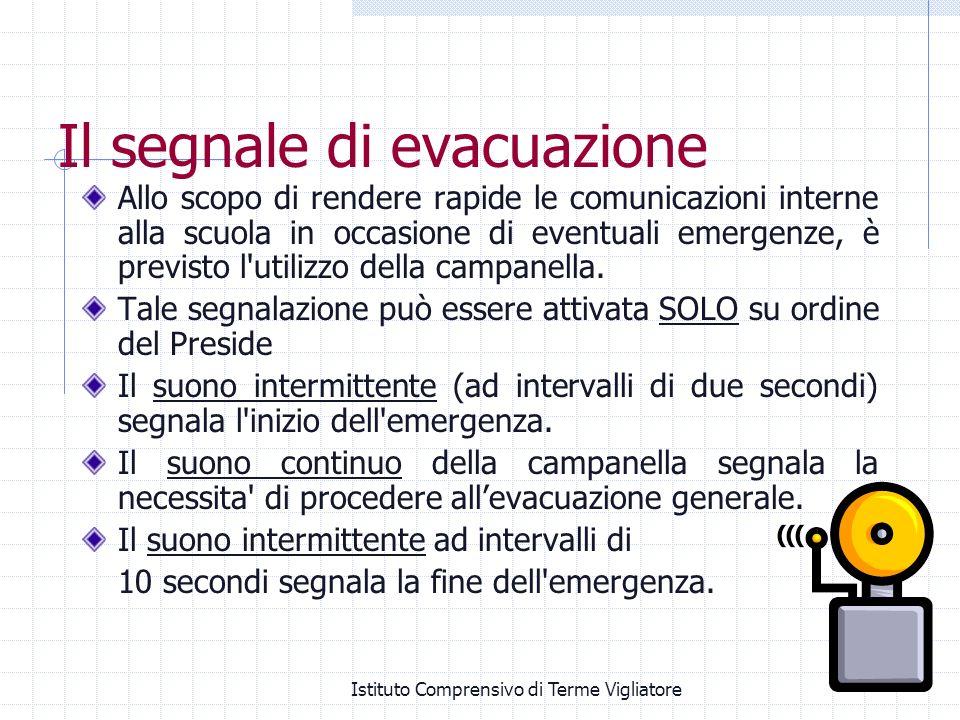 Istituto Comprensivo di Terme Vigliatore Il segnale di evacuazione Allo scopo di rendere rapide le comunicazioni interne alla scuola in occasione di e