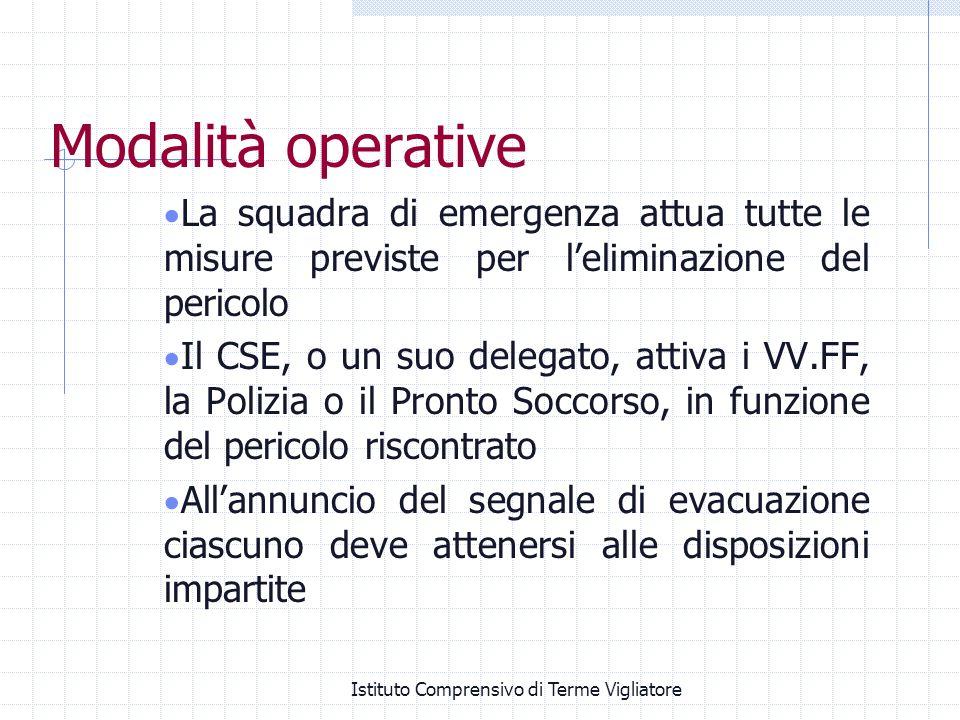 Istituto Comprensivo di Terme Vigliatore Modalità operative La squadra di emergenza attua tutte le misure previste per leliminazione del pericolo Il C
