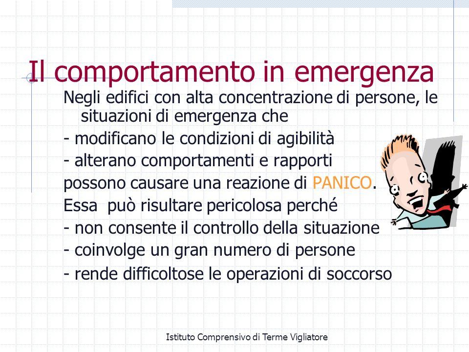 Istituto Comprensivo di Terme Vigliatore Negli edifici con alta concentrazione di persone, le situazioni di emergenza che - modificano le condizioni d