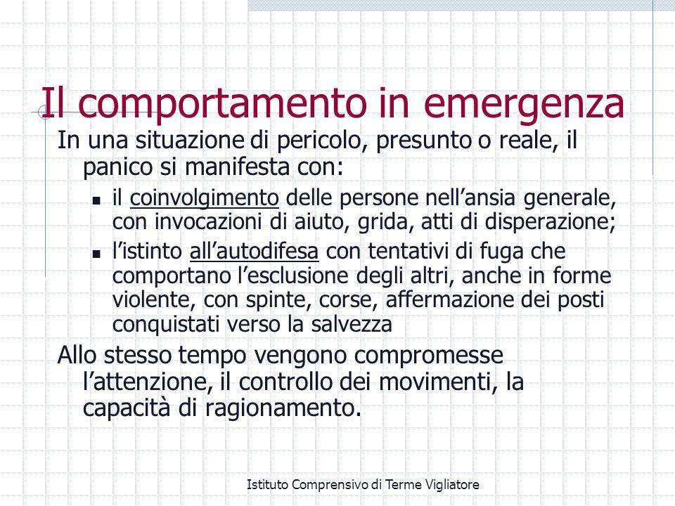 Istituto Comprensivo di Terme Vigliatore Il comportamento in emergenza In una situazione di pericolo, presunto o reale, il panico si manifesta con: il