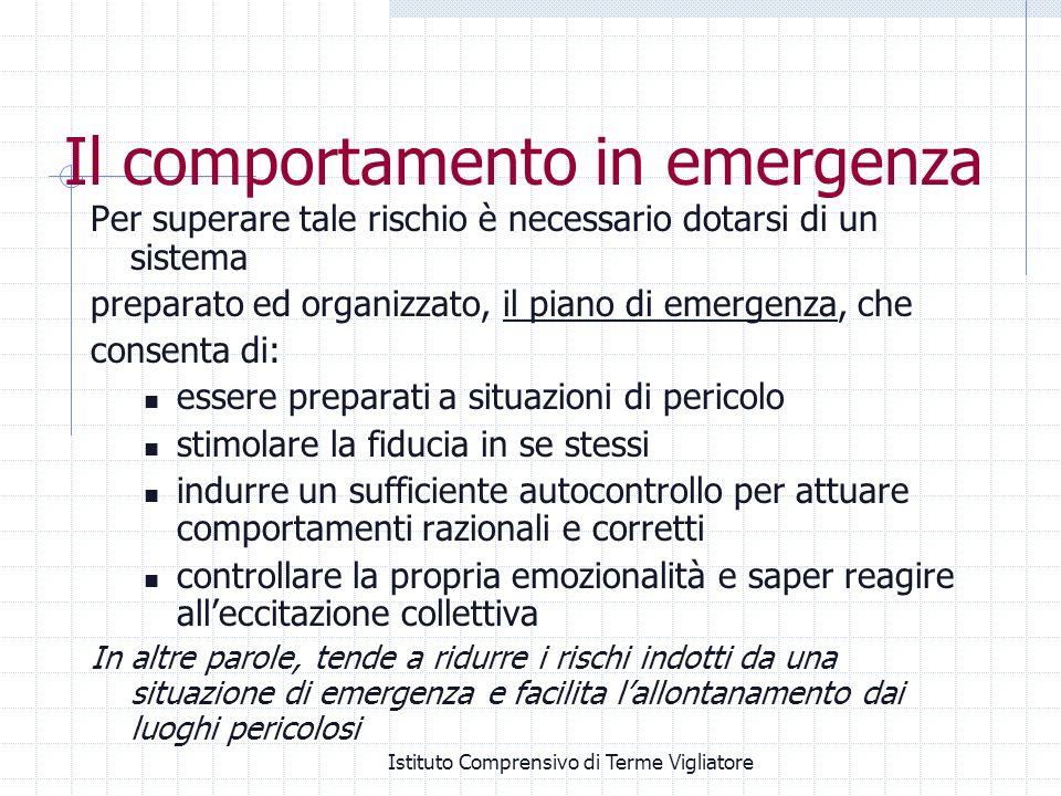 Istituto Comprensivo di Terme Vigliatore Il comportamento in emergenza Per superare tale rischio è necessario dotarsi di un sistema preparato ed organ