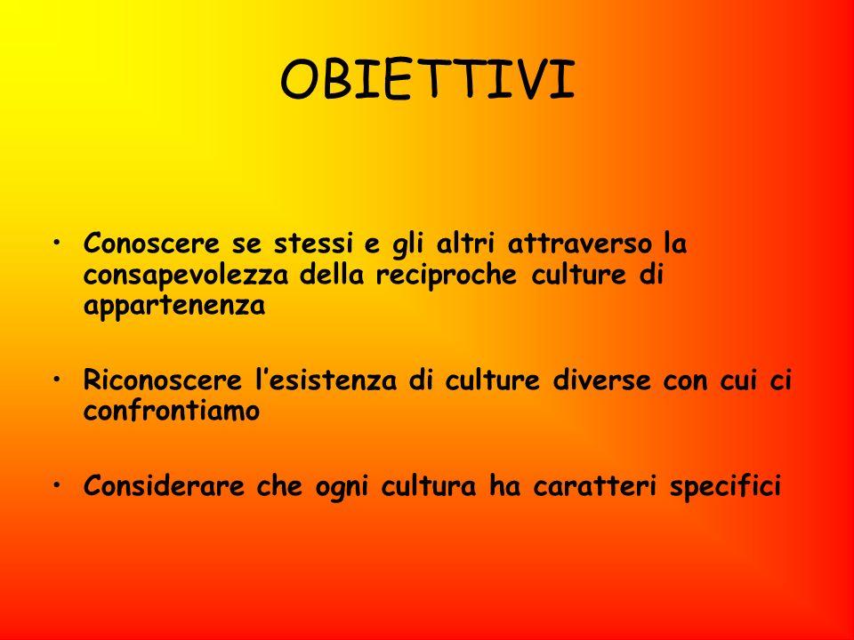 OBIETTIVI Conoscere se stessi e gli altri attraverso la consapevolezza della reciproche culture di appartenenza Riconoscere lesistenza di culture dive