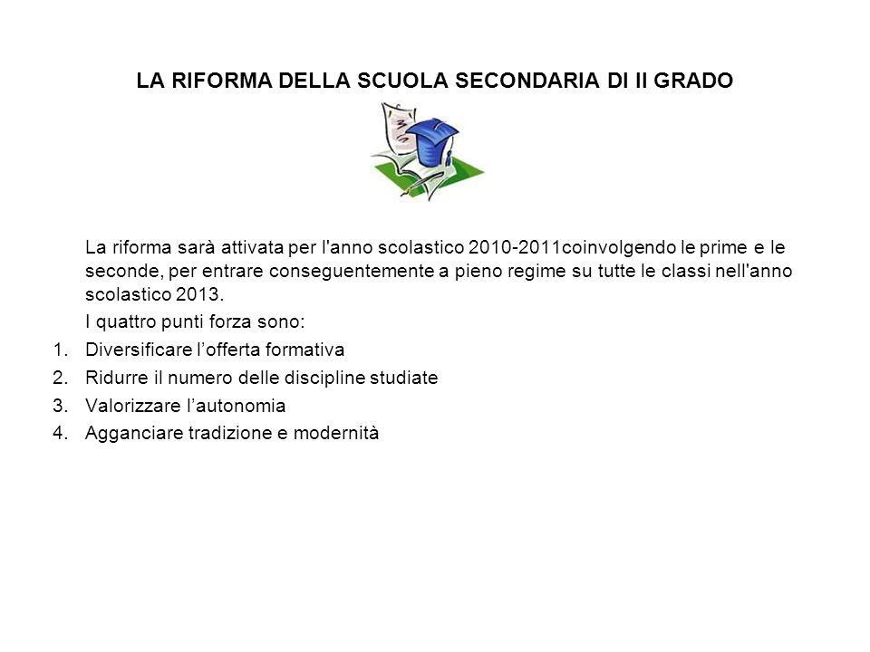 LA RIFORMA DELLA SCUOLA SECONDARIA DI II GRADO La riforma sarà attivata per l'anno scolastico 2010-2011coinvolgendo le prime e le seconde, per entrare