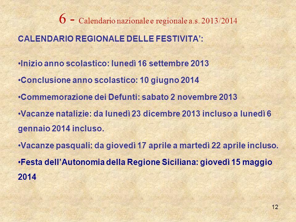 6 - Calendario nazionale e regionale a.s. 2013/2014 CALENDARIO REGIONALE DELLE FESTIVITA: Inizio anno scolastico: lunedì 16 settembre 2013 Conclusione