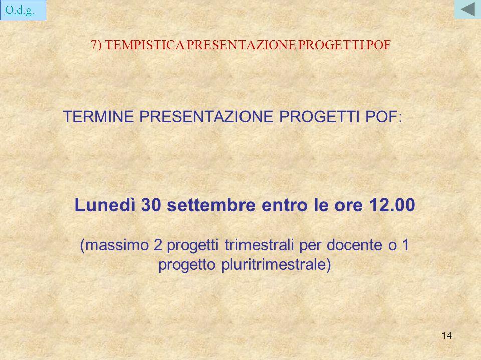 14 7) TEMPISTICA PRESENTAZIONE PROGETTI POF TERMINE PRESENTAZIONE PROGETTI POF: Lunedì 30 settembre entro le ore 12.00 (massimo 2 progetti trimestrali