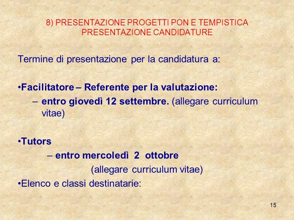 8) PRESENTAZIONE PROGETTI PON E TEMPISTICA PRESENTAZIONE CANDIDATURE Termine di presentazione per la candidatura a: Facilitatore – Referente per la va