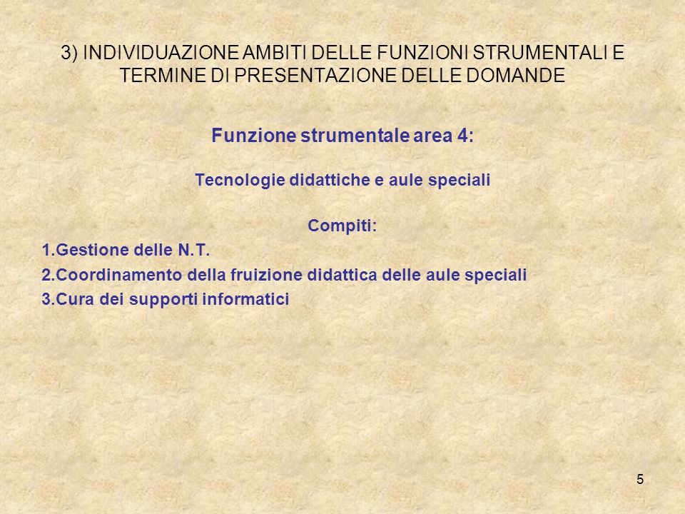 3) INDIVIDUAZIONE AMBITI DELLE FUNZIONI STRUMENTALI E TERMINE DI PRESENTAZIONE DELLE DOMANDE Funzione strumentale area 4: Tecnologie didattiche e aule speciali Compiti: 1.Gestione delle N.T.