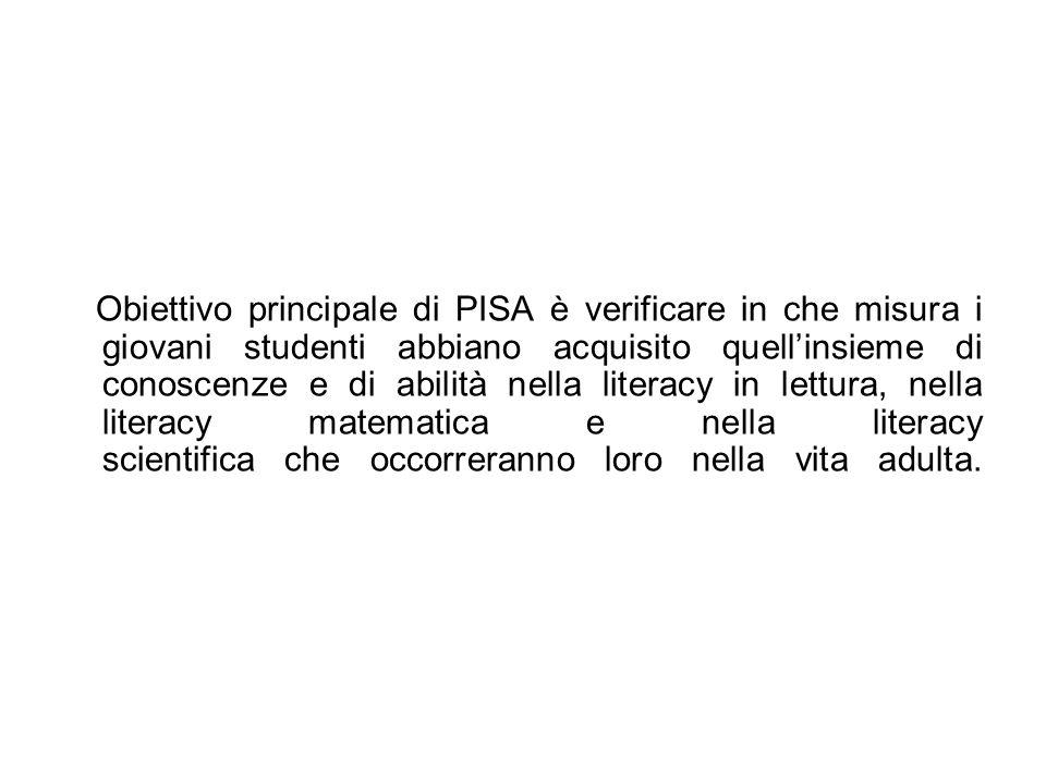 Obiettivo principale di PISA è verificare in che misura i giovani studenti abbiano acquisito quellinsieme di conoscenze e di abilità nella literacy in