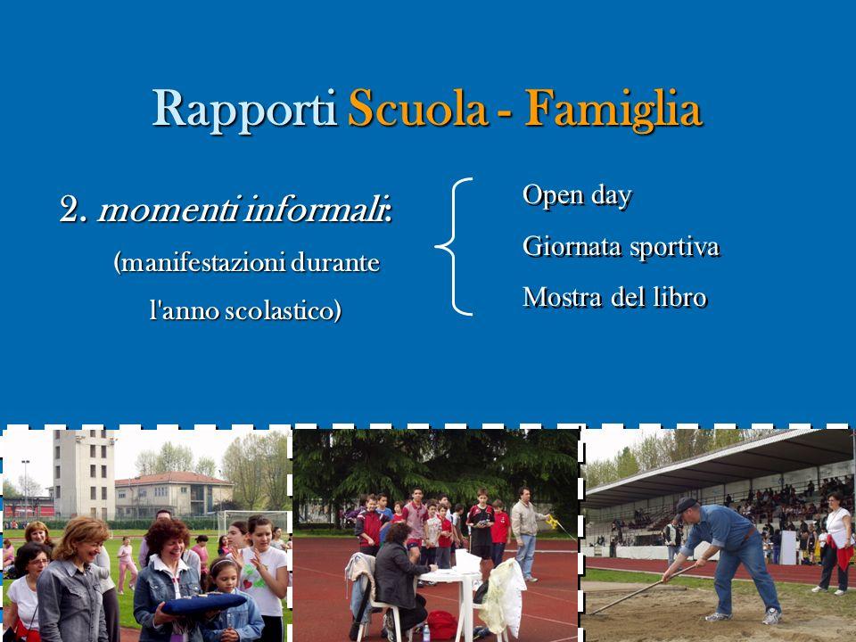 Rapporti Scuola - Famiglia Rapporti Scuola - Famiglia 2. momenti informali: (manifestazioni durante l'anno scolastico) Open day Giornata sportiva Most