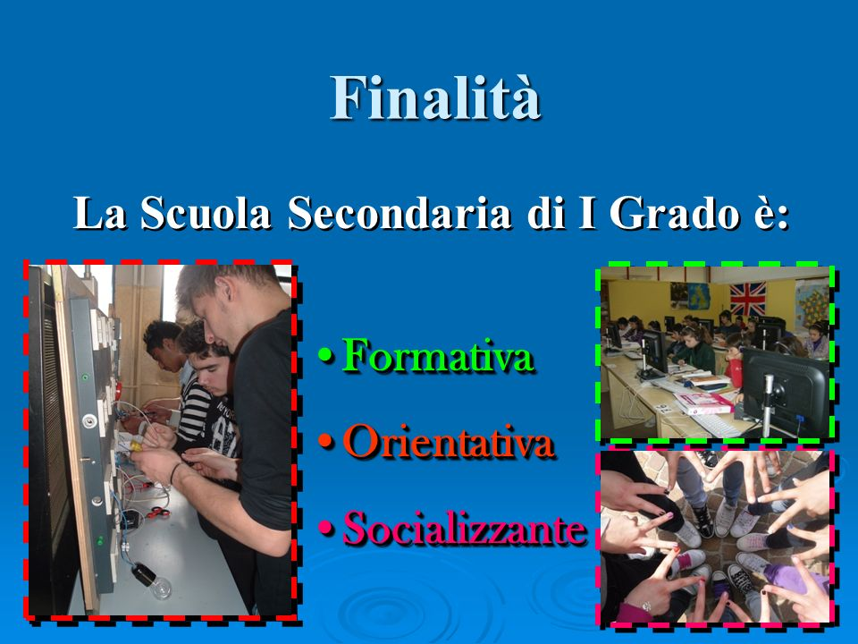La Scuola Secondaria di I Grado è: FormativaFormativa OrientativaOrientativa SocializzanteSocializzante FormativaFormativa OrientativaOrientativa SocializzanteSocializzante Finalità