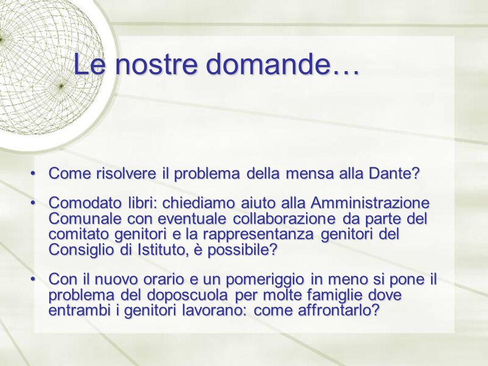 Le nostre domande… Come risolvere il problema della mensa alla Dante Come risolvere il problema della mensa alla Dante.