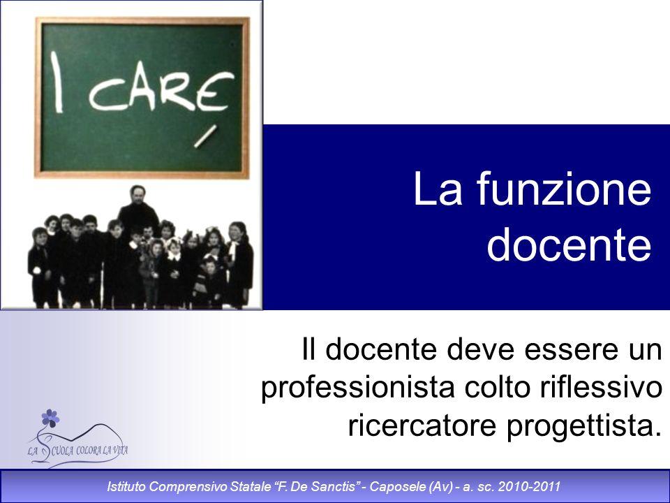 La funzione docente Il docente deve essere un professionista colto riflessivo ricercatore progettista. Istituto Comprensivo Statale F. De Sanctis - Ca