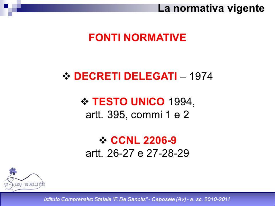 La normativa vigente FONTI NORMATIVE DECRETI DELEGATI – 1974 TESTO UNICO 1994, artt. 395, commi 1 e 2 CCNL 2206-9 artt. 26-27 e 27-28-29 Istituto Comp