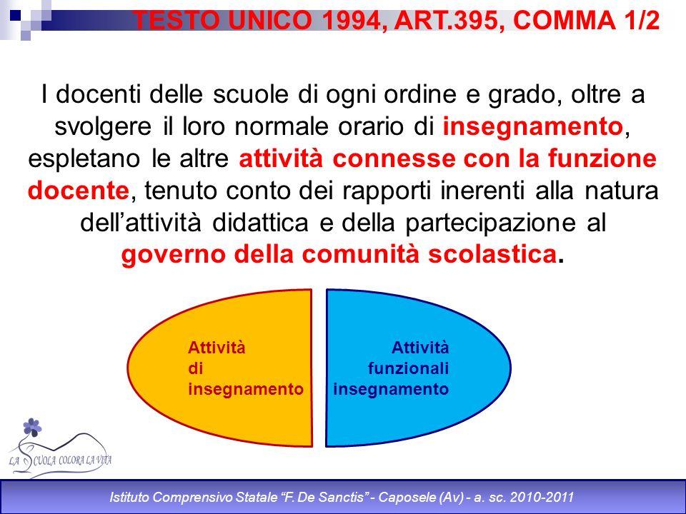 TESTO UNICO 1994, ART.395, COMMA 1/2 I docenti delle scuole di ogni ordine e grado, oltre a svolgere il loro normale orario di insegnamento, espletano