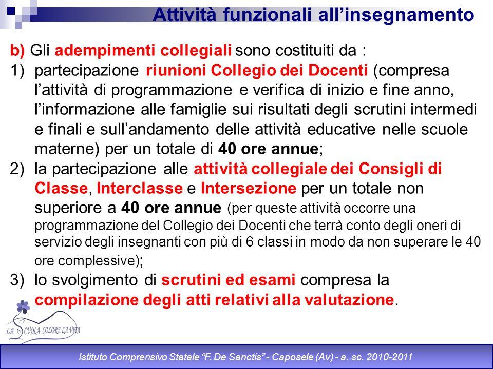 Attività funzionali allinsegnamento b) Gli adempimenti collegiali sono costituiti da : 1)partecipazione riunioni Collegio dei Docenti (compresa lattiv