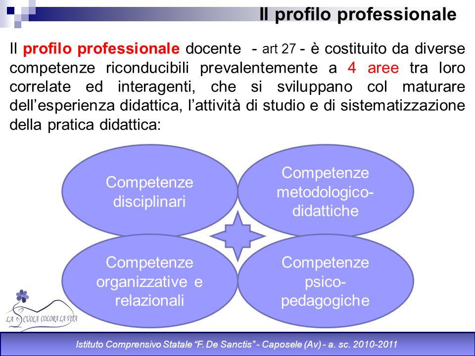 Il profilo professionale Il profilo professionale docente - art 27 - è costituito da diverse competenze riconducibili prevalentemente a 4 aree tra lor