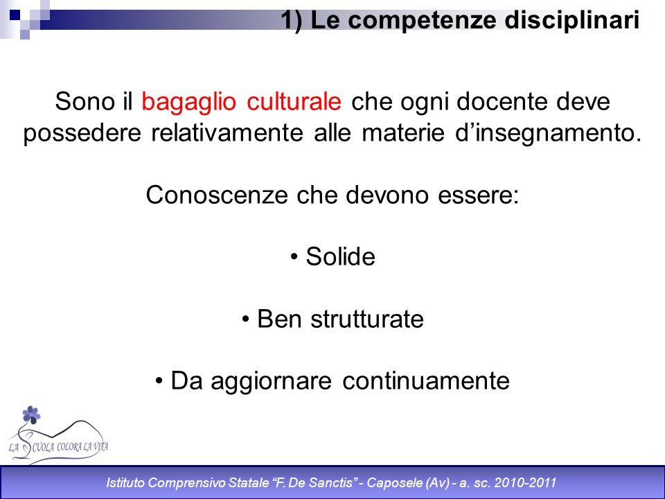 1) Le competenze disciplinari Sono il bagaglio culturale che ogni docente deve possedere relativamente alle materie dinsegnamento. Conoscenze che devo