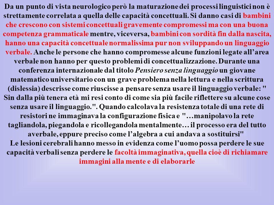 Da un punto di vista neurologico però la maturazione dei processi linguistici non è strettamente correlata a quella delle capacità concettuali. Si dan