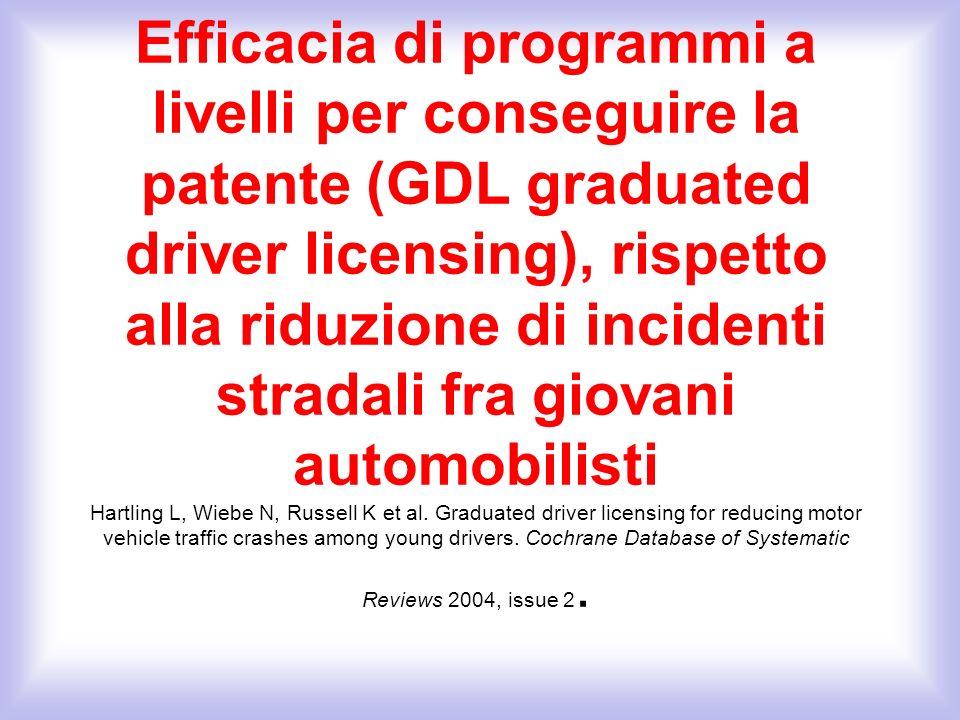 Efficacia di programmi a livelli per conseguire la patente (GDL graduated driver licensing), rispetto alla riduzione di incidenti stradali fra giovani