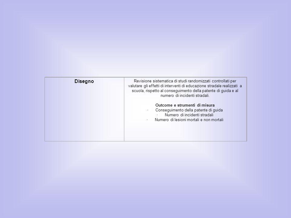 Disegno Revisione sistematica di studi randomizzati controllati per valutare gli effetti di interventi di educazione stradale realizzati a scuola, ris