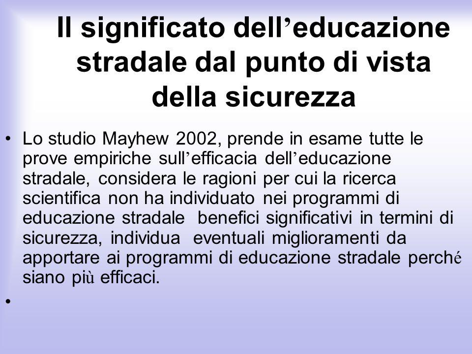 Il significato dell educazione stradale dal punto di vista della sicurezza Lo studio Mayhew 2002, prende in esame tutte le prove empiriche sull effica