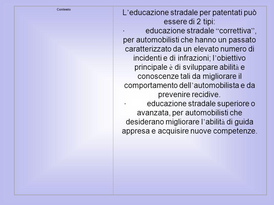 Contesto L educazione stradale per patentati può essere di 2 tipi: · educazione stradale correttiva, per automobilisti che hanno un passato caratteriz