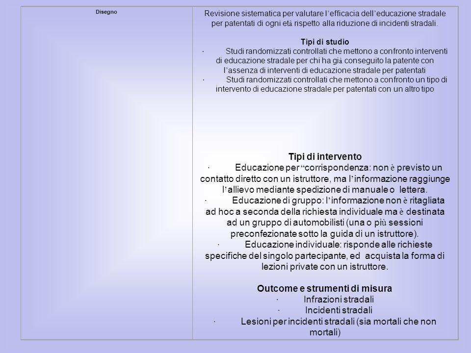 Disegno Revisione sistematica per valutare l efficacia dell educazione stradale per patentati di ogni et à rispetto alla riduzione di incidenti strada