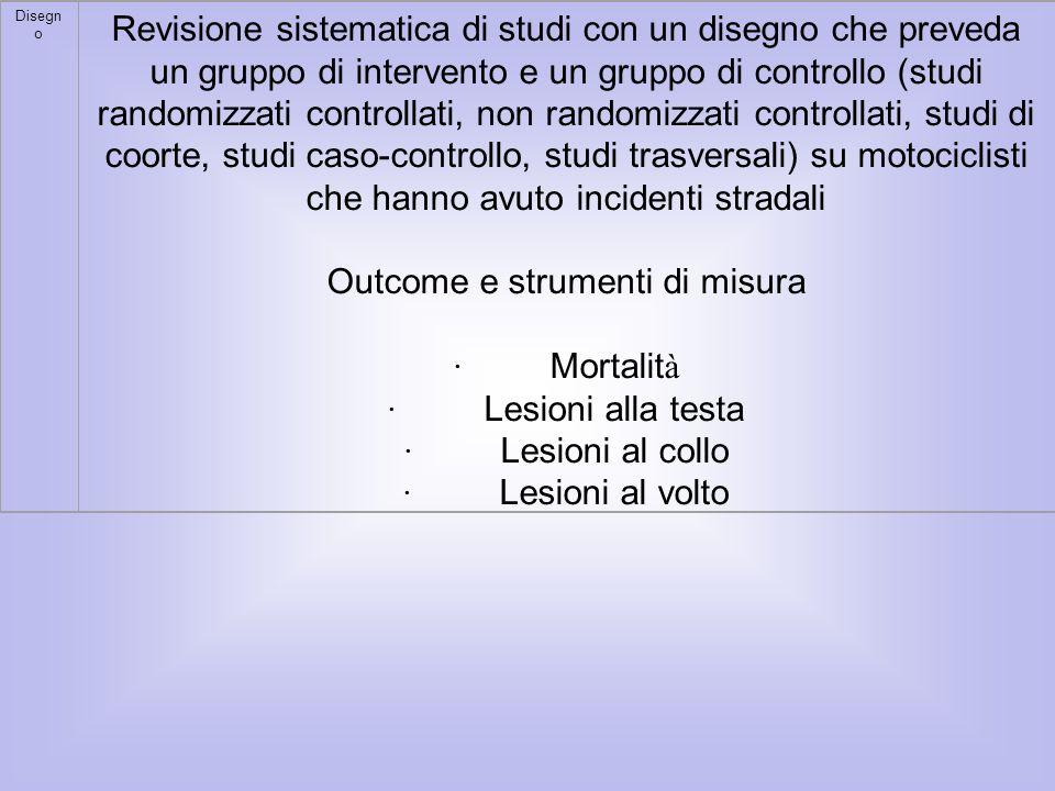 Disegn o Revisione sistematica di studi con un disegno che preveda un gruppo di intervento e un gruppo di controllo (studi randomizzati controllati, n