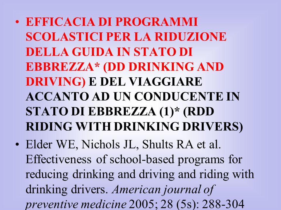 EFFICACIA DI PROGRAMMI SCOLASTICI PER LA RIDUZIONE DELLA GUIDA IN STATO DI EBBREZZA* (DD DRINKING AND DRIVING) E DEL VIAGGIARE ACCANTO AD UN CONDUCENT