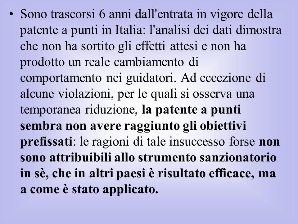 Sono trascorsi 6 anni dall'entrata in vigore della patente a punti in Italia: l'analisi dei dati dimostra che non ha sortito gli effetti attesi e non