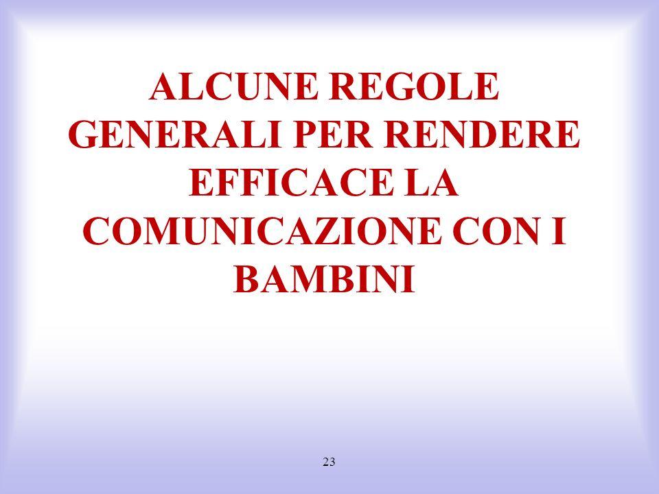 23 ALCUNE REGOLE GENERALI PER RENDERE EFFICACE LA COMUNICAZIONE CON I BAMBINI
