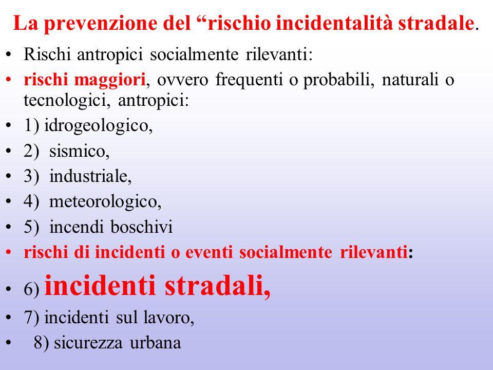 La prevenzione del rischio incidentalità stradale. Rischi antropici socialmente rilevanti: rischi maggiori, ovvero frequenti o probabili, naturali o t