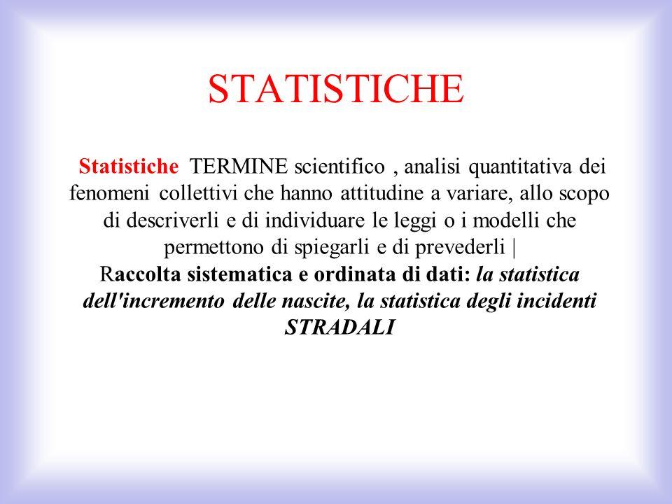 Statistiche TERMINE scientifico, analisi quantitativa dei fenomeni collettivi che hanno attitudine a variare, allo scopo di descriverli e di individua