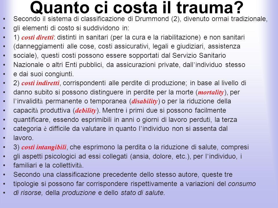 Quanto ci costa il trauma? Secondo il sistema di classificazione di Drummond (2), divenuto ormai tradizionale, gli elementi di costo si suddividono in