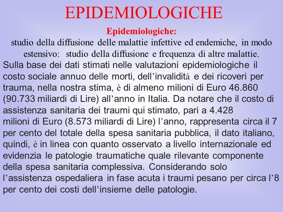 Epidemiologiche: studio della diffusione delle malattie infettive ed endemiche, in modo estensivo: studio della diffusione e frequenza di altre malatt