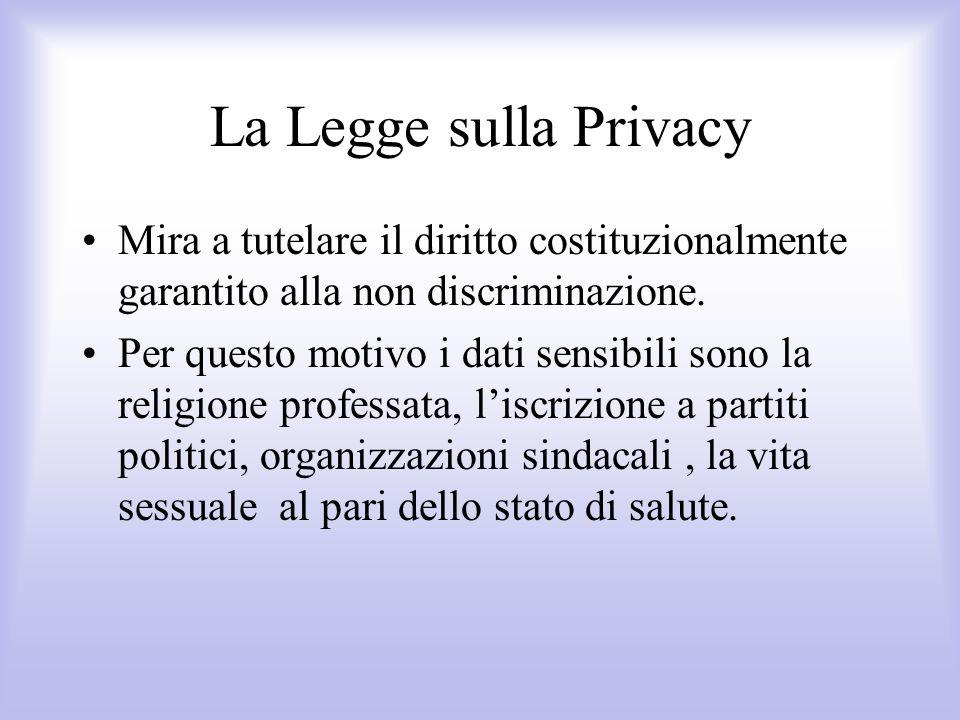 La Legge sulla Privacy Mira a tutelare il diritto costituzionalmente garantito alla non discriminazione. Per questo motivo i dati sensibili sono la re