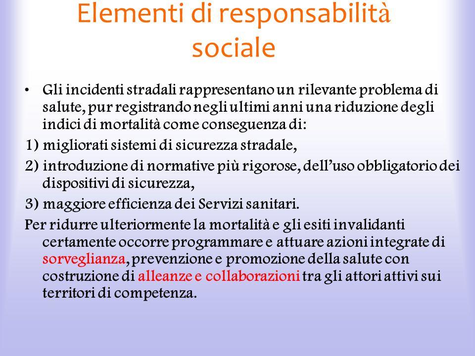 Elementi di responsabilit à sociale Gli incidenti stradali rappresentano un rilevante problema di salute, pur registrando negli ultimi anni una riduzi