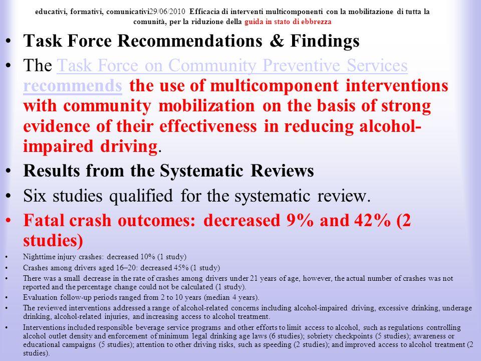 educativi, formativi, comunicativi29/06/2010 Efficacia di interventi multicomponenti con la mobilitazione di tutta la comunità, per la riduzione della