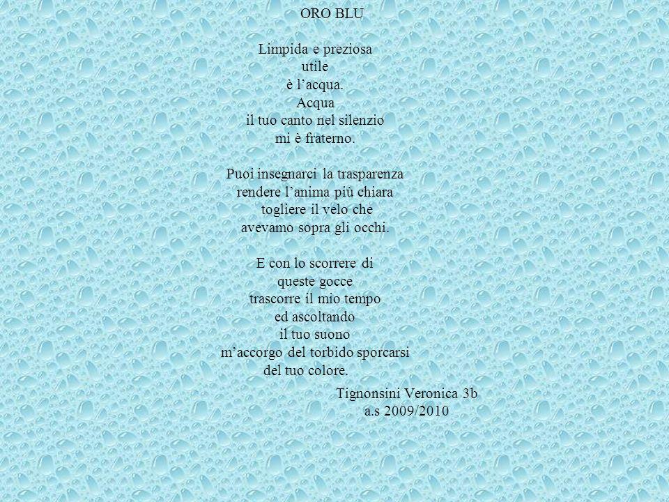 Tignonsini Veronica 3b a.s 2009/2010 ORO BLU Limpida e preziosa utile è lacqua.