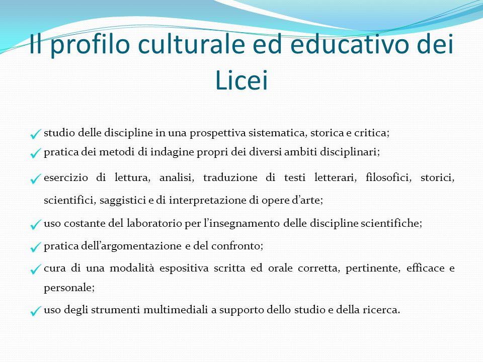 Il profilo culturale ed educativo dei Licei studio delle discipline in una prospettiva sistematica, storica e critica; pratica dei metodi di indagine
