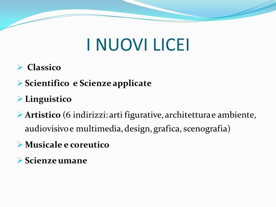 I NUOVI LICEI Classico Scientifico e Scienze applicate Linguistico Artistico (6 indirizzi: arti figurative, architettura e ambiente, audiovisivo e mul
