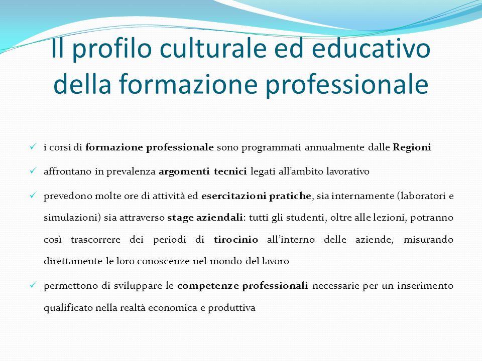 Il profilo culturale ed educativo della formazione professionale i corsi di formazione professionale sono programmati annualmente dalle Regioni affron