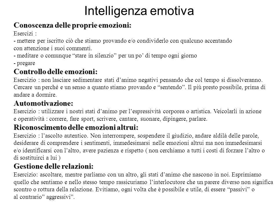 Intelligenza emotiva Conoscenza delle proprie emozioni: Esercizi : - mettere per iscritto ciò che stiamo provando e/o condividerlo con qualcuno accent