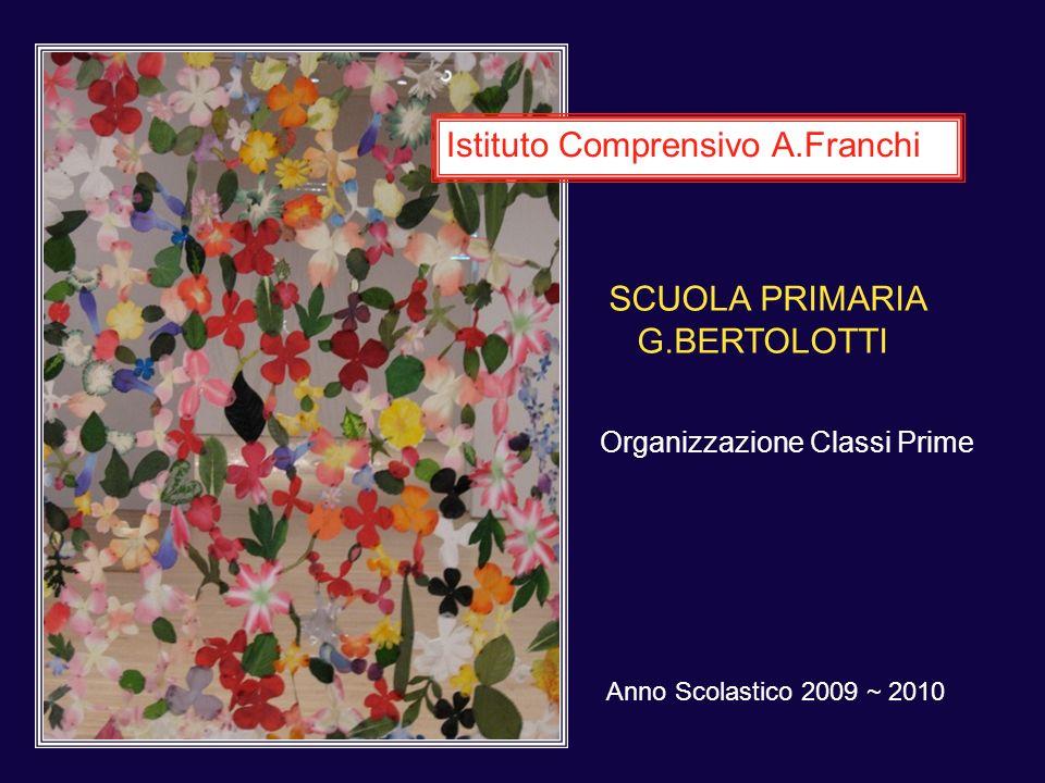 Anno Scolastico 2009 ~ 2010 Istituto Comprensivo A.Franchi SCUOLA PRIMARIA G.BERTOLOTTI Organizzazione Classi Prime