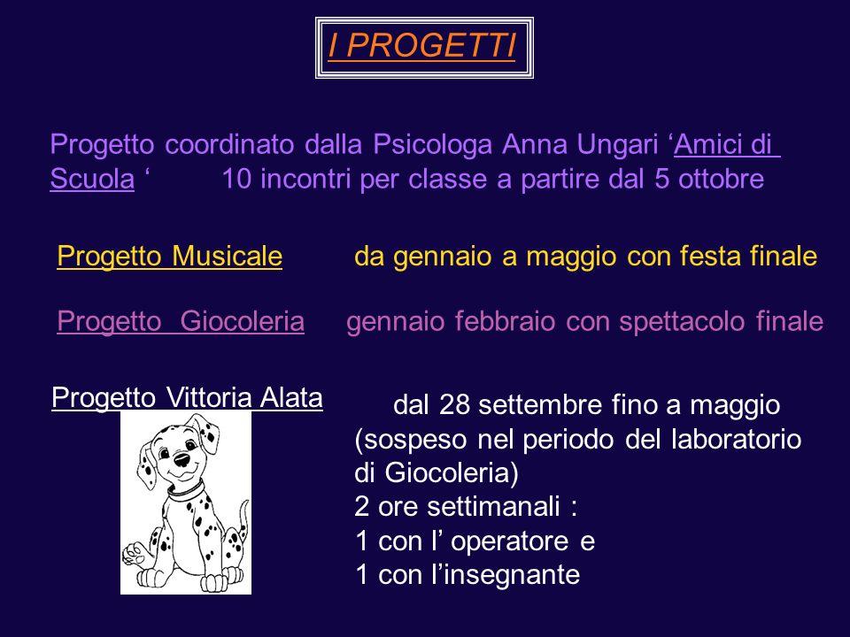 I PROGETTI Progetto coordinato dalla Psicologa Anna Ungari Amici di Scuola 10 incontri per classe a partire dal 5 ottobre Progetto Musicale da gennaio